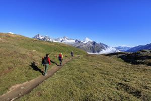 Hikers on a Mountain Path Proceed Towards the High Peaks in a Clear Summer Day, Switzerland by Roberto Moiola