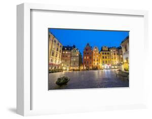 Illuminated historic buildings at dusk, Stortorget Square, Gamla Stan, Stockholm, Sweden by Roberto Moiola