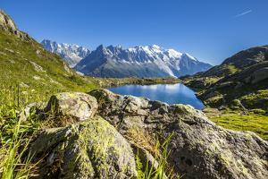 Mont Blanc Range Seen from Lac Des Cheserys, Aiguille Vert, Haute Savoie, French Alps, France by Roberto Moiola