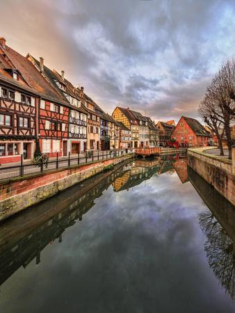 Panorama of colored houses reflected in River Lauch at sunset, Petite Venise, Colmar, Haut-Rhin dep