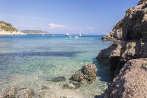 Sailboats in the turquoise sea, Fetovaia Beach, Campo nell'Elba, Elba Island, Livorno Province, Tus by Roberto Moiola
