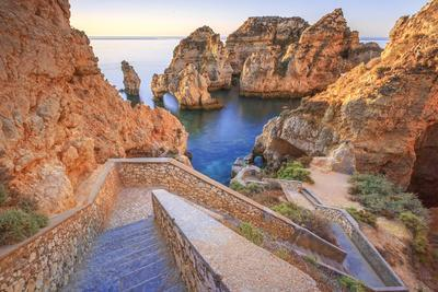 Soft Colors of Dawn on the Red Cliffs of Ponta Da Piedade, Lagos, Algarve, Portugal, Europe