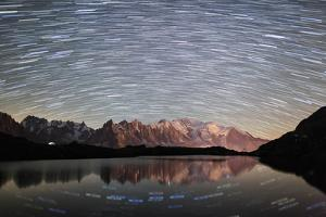 Star Trail over Mont Blanc Range Seen from Lac Des Cheserys by Roberto Moiola