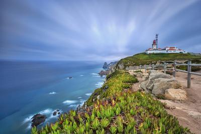 Sunrise on the Cape and Lighthouse of Cabo Da Roca Overlooking the Atlantic Ocean, Sintra, Portugal