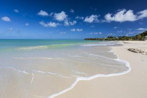 The Waves of the Caribbean Sea Crashing on the White Sandy Beach of Runaway Bay by Roberto Moiola