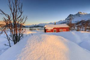 The Winter Sun Illuminates a Typical Norwegian Red House Surrounded by Fresh Snow by Roberto Moiola