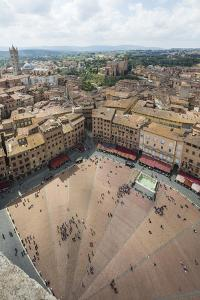 Top view of Piazza del Campo with the historical buildings and The Fonte Gaia fountain, Siena, UNES by Roberto Moiola