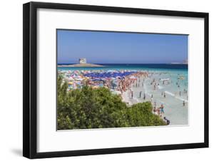 Tourists and beach umbrellas at La Pelosa Beach, Stintino, Asinara Nat'l Park, Sardinia, Italy by Roberto Moiola