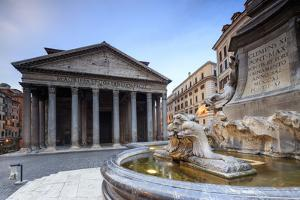 View of Old Pantheon a Circular Building with a Portico of Granite Corinthian Columns and Fountains by Roberto Moiola