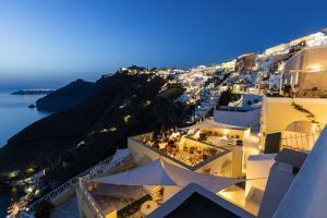 View of the Aegean Sea from the Typical Greek Village of Firostefani at Dusk, Santorini, Cyclades by Roberto Moiola