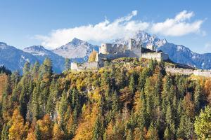View of the old Ehrenberg Castle surrounded by colorful woods and rocky peaks, Reutte, Austria, Eur by Roberto Moiola