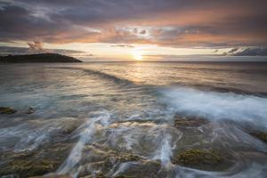 Waves Crash on Cliffs under a Colorful Caribbean Sunset, Galley Bay, St. John'S by Roberto Moiola
