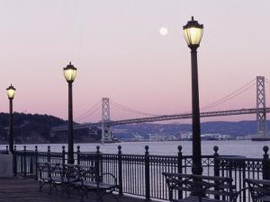 Street Lamps with Bridge in the Background by Robin Allen