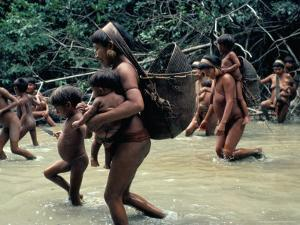 Yanomami Indians Going Fishing, Brazil, South America by Robin Hanbury-tenison