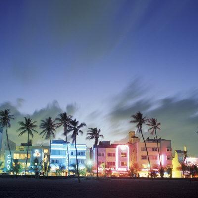 Art Deco Architecture and Palms, South Beach, Miami, Florida