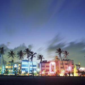 Art Deco Architecture and Palms, South Beach, Miami, Florida by Robin Hill