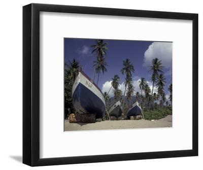 Boat on Pinney Beach, Nevis, Caribbean