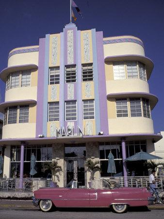 Classic Cadillac at The Marlin, South Beach, Miami, Florida, USA