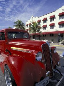 Ocean Drive with Classic Hot Rod, South Beach, Miami, Florida, USA by Robin Hill