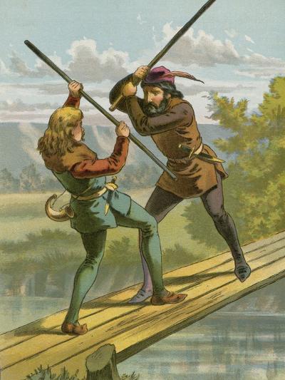 Robin Hood's Combat with Little John--Giclee Print