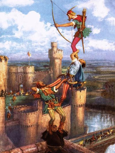 Robin Hood Shooting into Nottingham Castle-John Millar Watt-Giclee Print