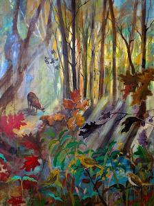 Deer at Water in Woods by Robin Maria