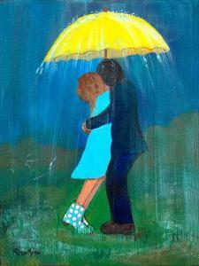 Kissing under the Yellow Umbrella by Robin Maria