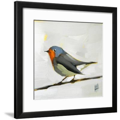 Robin on Wire-Angela Moulton-Framed Art Print