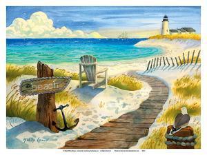 Boardwalk to the Lighthouse - Beach Chair Ocean View by Robin Wethe Altman