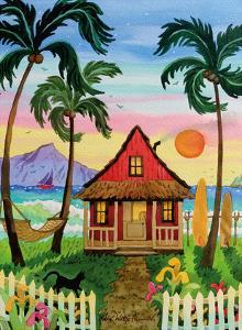 Hati's Red Hut - Tropical Beach Hut - Hawaii - Hawaiian Islands Sunset by Robin Wethe Altman
