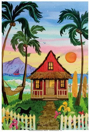 Hati's Red Hut - Tropical Beach Hut - Hawaii - Hawaiian Islands Sunset