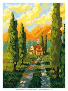 Italian Earth - Italy - Italian Villa, Cypress Trees by Robin Wethe Altman