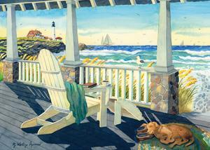Morning Coffee at the Beach House - Seaside Ocean View with Dog by Robin Wethe Altman