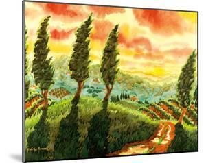 Red Sky over Tuscany Italy - Italian Vineyards, Cypress Trees by Robin Wethe Altman