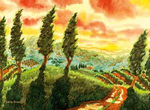 Red Sky over Tuscany Italy - Italian Vineyards, Cypress Trees by Robin Wethe Altman