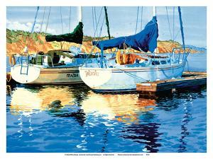 Reflections on the Gold Coast - Two Sailboats at Pier - La Jolla, California by Robin Wethe Altman