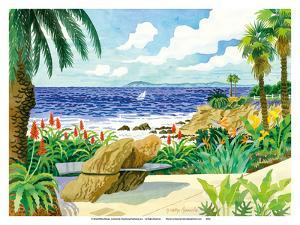 Rock Pile Carve Bench at Heisler Park - Laguna Beach California by Robin Wethe Altman