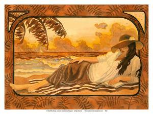 She Lays by the Sea - Woman Reading on Beach by Robin Wethe Altman