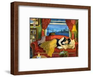 She Lives in San Francisco - California Woman on Couch with Cat by Robin Wethe Altman