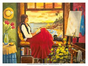 She's an Artist - Woman Watching Ocean Sunset with Dog by Robin Wethe Altman