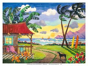 Sunset in Paradise - Tropical Beach - Hawaii - Hawaiian Islands by Robin Wethe Altman