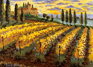 Sunset on the Vineyard - Italy - Italian Villa, Vineyards, Cypress Trees by Robin Wethe Altman