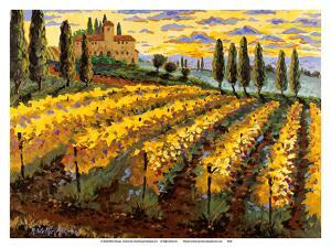 Sunset on the Vineyard - Italy - Italian Villa, Vineyards, Cypress Trees by Robin Wethe Altman