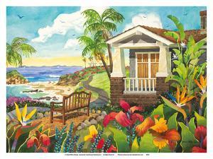 The Montage - Laguna Beach California - Seaside Bench Ocean View by Robin Wethe Altman