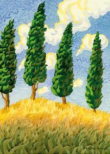 Touch the Sky - Tuscany Italy - Italian Cypress Trees by Robin Wethe Altman