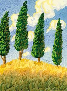 Touch the Sky - Tuscany Italy - Italian Cypress Trees by Robin Wethe Altman