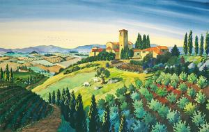 Tuscan Air - Tuscany Italy - Italian Villa, Vineyards, Cypress Trees by Robin Wethe Altman