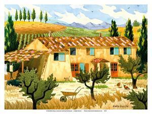 Tuscan Farm Yard - Tuscany Italy - Italian Vineyards, Cypress Trees by Robin Wethe Altman
