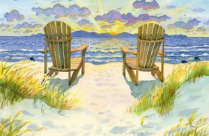 Wait For The Dawn - The Two of Us - Beach Chairs Ocean Twilight View by Robin Wethe Altman
