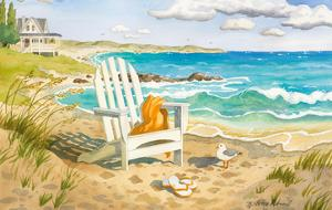 Waiting For You - A Week at the Beach House - Beach Chair Ocean View by Robin Wethe Altman